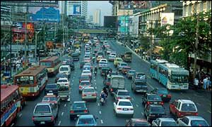 Lanes of heavy traffic in central Bangkok
