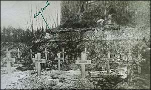 Black and white photo of Edith Cavell's grave somewhere in France