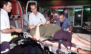 Injured Israelis being taken to hospital