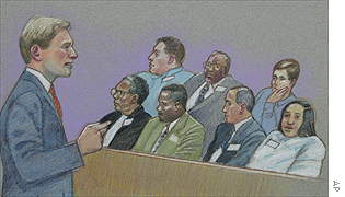 Artists rendering of US attorney Matt Friedrich addressing jurors