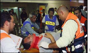 Ambulance workers attending to the wounded