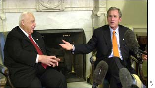 Ariel Sharon and George Bush in the White House