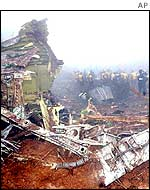 The wreckage of a crashed Air China Boeing 767 airplane, April 2002