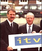 Gerry Murphy, chief executive of Carlton, and Steve Morrison, chief executive of Granada, at the launch of ITV Digital