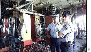 Police officers inside the wrecked pool hall