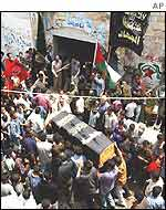 Palestinians carry the coffin of Islamic Jihad activist, Hazim Al Wadi, in Gaza City