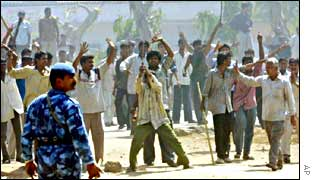 Rioters in Ahmedabad