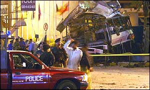 Wreck of the bus in Karachi