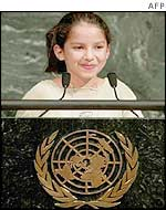 Child delegate speaks at UN podium