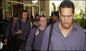 Darryl Tuffey and new Zealand players board the team bus