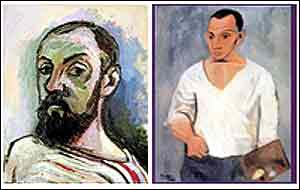 Self-portraits of Matisse (left) and Picasso (both 1906)