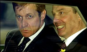 Alastair Campbell in a car with Tony Blair