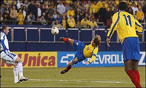 Alex Aguinaga's acrobatic volley led to Ecuador's goal