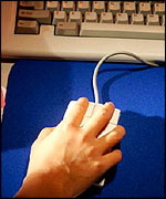 User clicks on a mouse