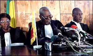 Mali's Constitutional Court members deliver the final results of the presidential poll