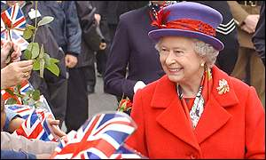 The Queen greeting wellwishers celebrating her Golden Jubilee tour