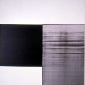 Exposed painting, vine black by Callum Innes. His paintings are described as