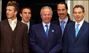 David Beckham, Gareth Southgate, Sven-Goran Eriksson and David Seaman meet PM Tony Blair at 10 Downing Street