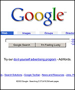 The Google screen