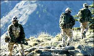 Pictured on patrol in the mountain regions of Eastern Afghanistan are members of 45 Commando Royal Marines