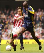 Stoke defender Peter Handyside contained the threat of Brentford striker Lloyd Owusu