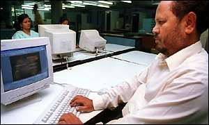 User on a computer, BBC