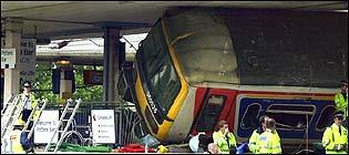 Derailed train carriage