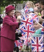Huge crowds gathered to see the Queen