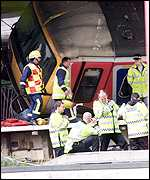 The scene of the rail crash, Potters Bar, Hertfordshire