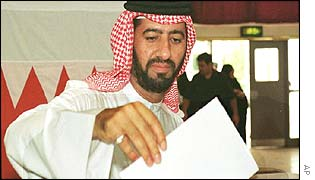 A man votes in Bahrain