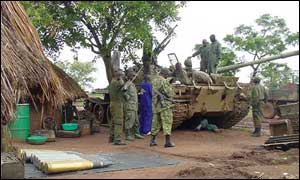 Tank in northern Uganda supply base for Operation Iron Fist