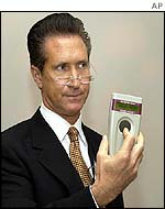ADS representative Richard Seelig holds a scanner for the chip