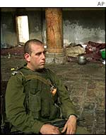 Israeli soldier in Church of Nativity