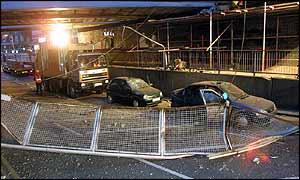 Damaged cars at Potters Bar