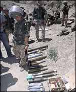 A selection of the ammunition discovered in caves by Royal Marines in eastern Afghanistan
