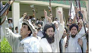 Tribal leaders and their followers in Miran Shah demonstrate against US military presence