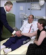 Prince Charles visiting survivors in hospital