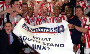 Stoke City celebrating in the Millennium Stadium's south dressing room