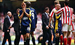 Dejected Brentford players after their 2-0 defeat at the Millennium Stadium