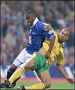 Birmingham's Michael Johnson and Norwich striker David Nielsen battle it out