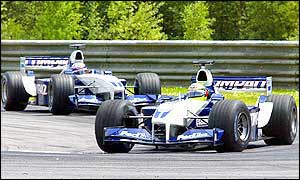 The Williams drivers battle with Ralf Schumacher temporarily in front