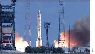 Proton K rocket booster launches off from the Baikonur complex in Kazakhstan