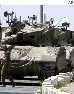 Israeli tank about to be put on a truck