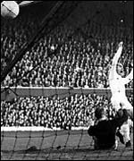 Di Stefano scores one of his three goals