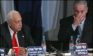 Sharon and Netanyahu at Likud meeting