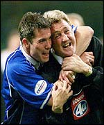 Birmingham captain Jeff Kenna and Steve Bruce celebrate
