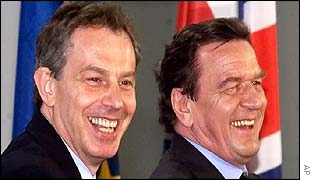 Tony Blair and Gerhard Schroeder in Berlin