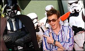 Ewan McGregor with Darth Vader and Storm Troopers