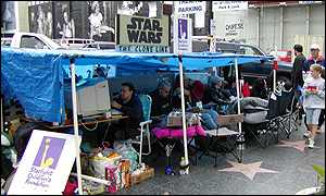Star Wars fans' camp site outside a Hollywood cinema