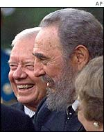 Jimmy Carter (left) and Fidel Castro